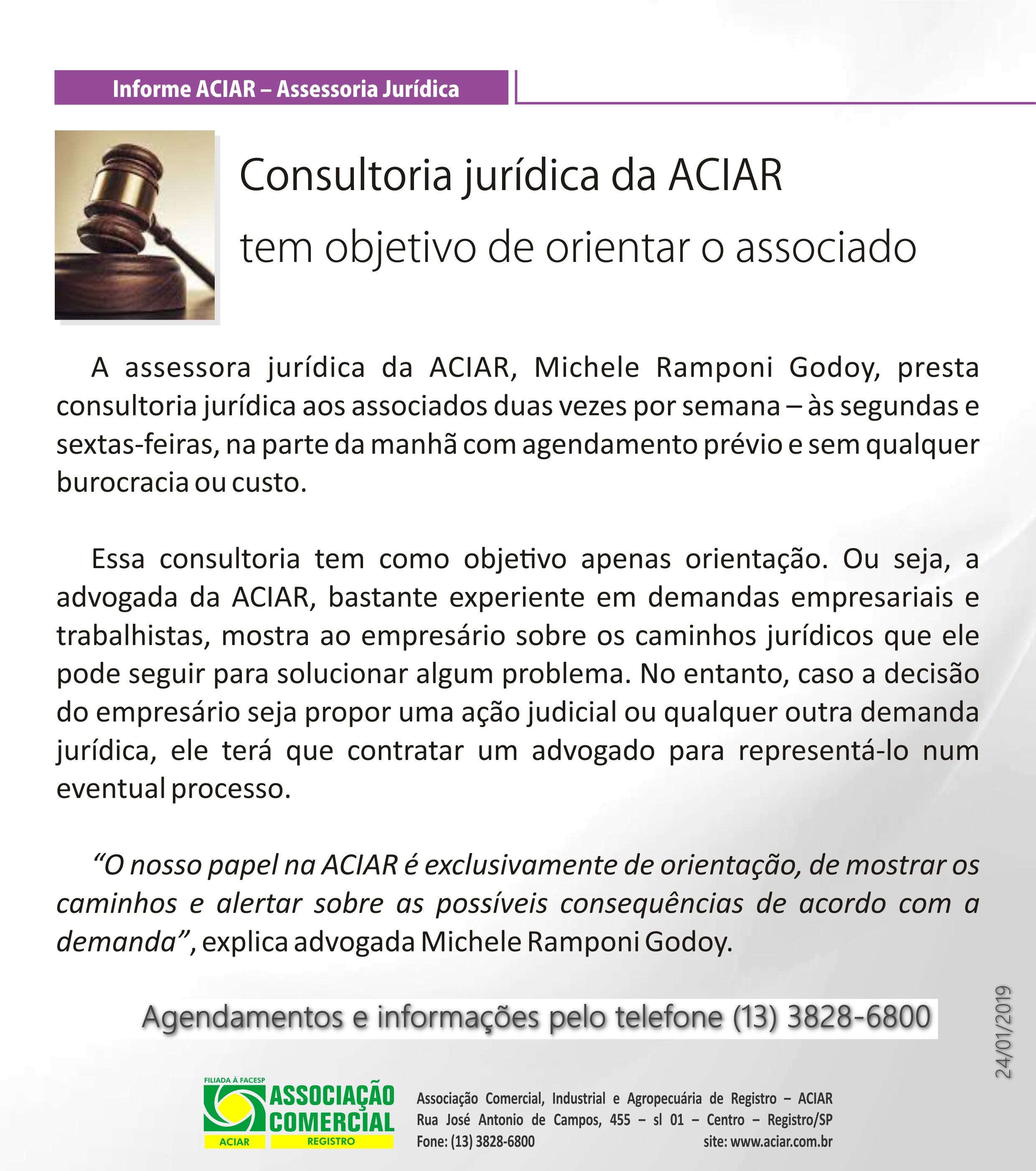 Informe ACIAR-Benefícios – Assessoria Jurídica
