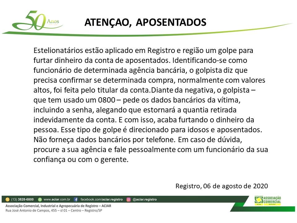 ATENÇÃO, APOSENTADOS